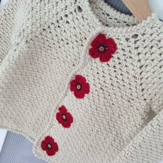 Handmade baby sweater, organic wool cardigan, winter sweater for a girl