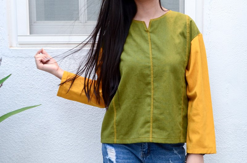 Xu Mu: color stitching cotton shirt