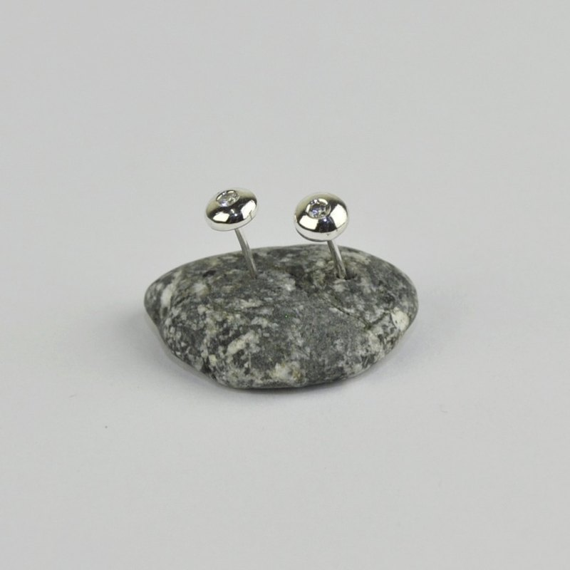 Single Diamond Earrings in Sterling Silver CZ Diamonds