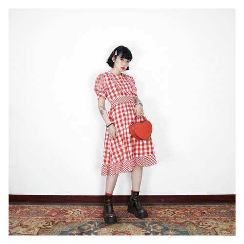 A‧PRANK :DOLLY :: Vintage European Country Red and White Plaid Check Vintage Dress D806018