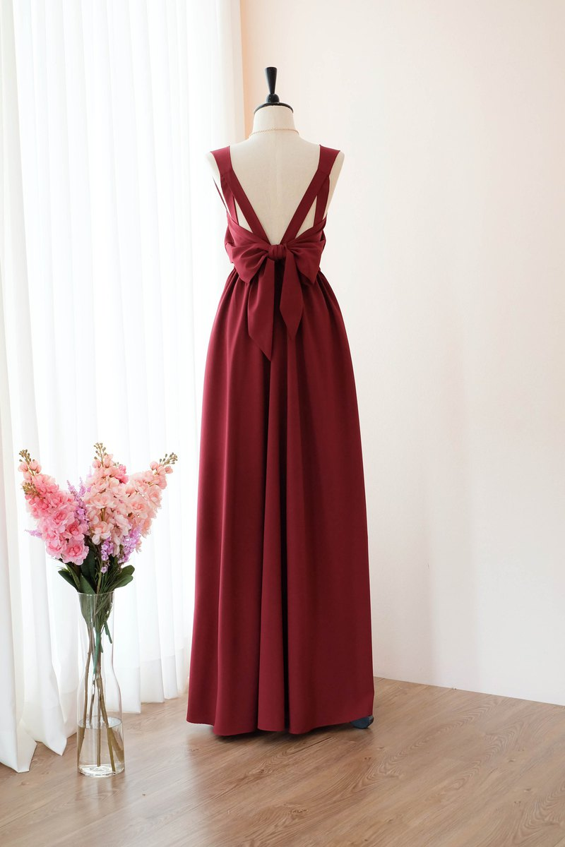 Burgundy Red dress Bridesmaid Bridal Dress Prom Cocktail Party Wedding Dress