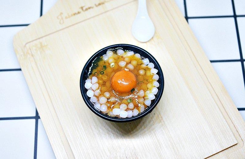 >>黏土系列 -生雞蛋拌飯仿真食物磁鐵 #冰箱磁鐵 #Fake Food