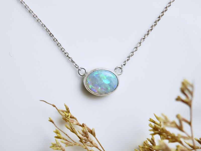 Australian Opal Sterling Silver Necklace - Gentle Psychedelic Blue Green