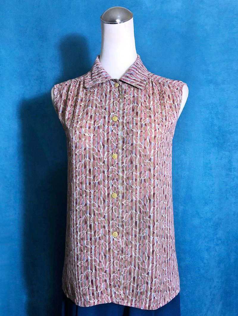 Striped flower sleeveless vintage shirt / brought back to VINTAGE abroad