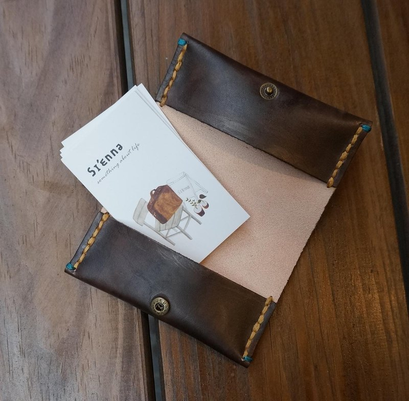 Sienna leather hand-dyed business card holder