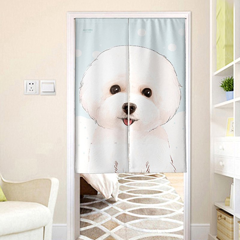 Cute face than bear curtain / hand-painted design