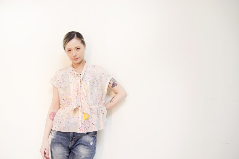 Okinawa printed gauze tie with sleeves top