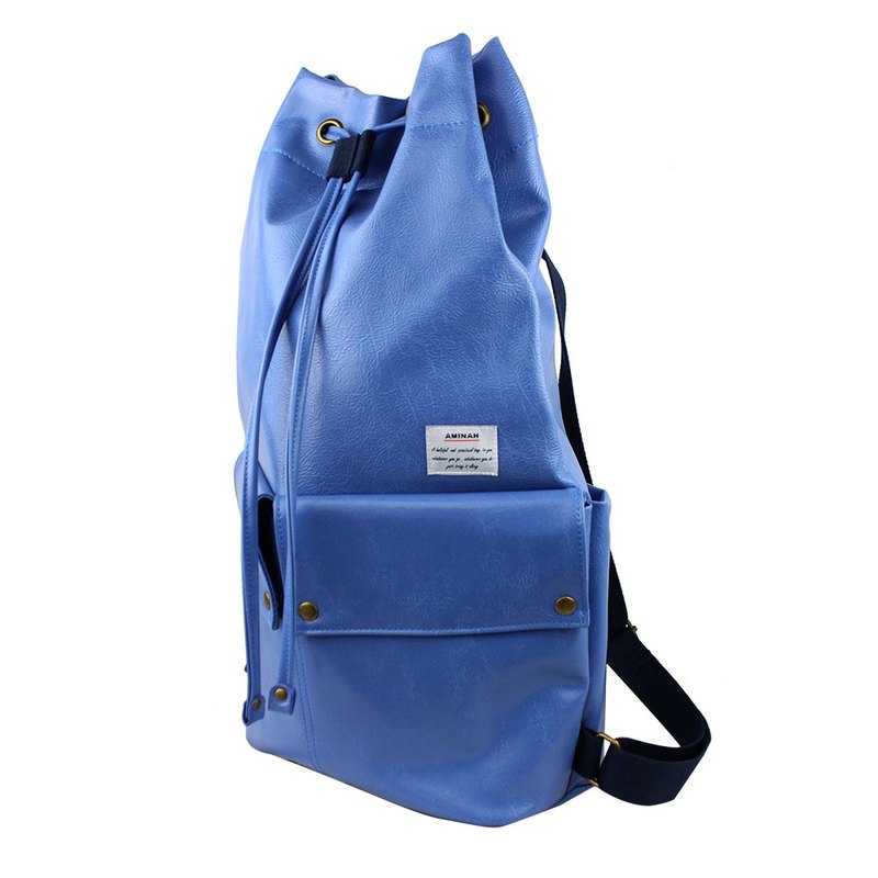 AMINAH-blue beam mouth backpack [am-0293]