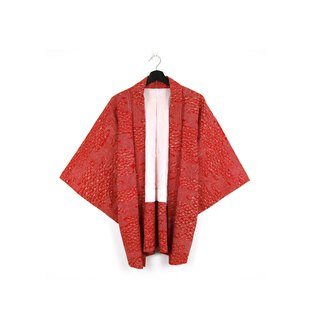 Back to Green-Japan brought back to the feather weaving red fan wave //vintage kimono