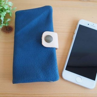 [Custom-made classic Blue] pig leather soft Sumahokesu [various models] leather cover [iphone6, xperia, galaxy] blue