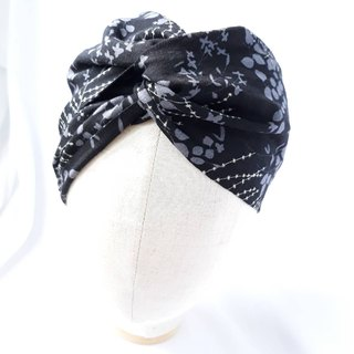 Black flower pattern scarf scarf type manual hair band