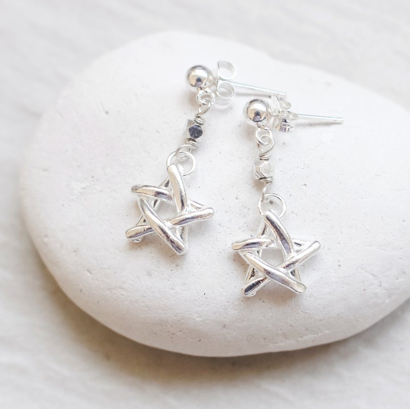 925 Silver Stick Star Earrings /Pentagram earrings