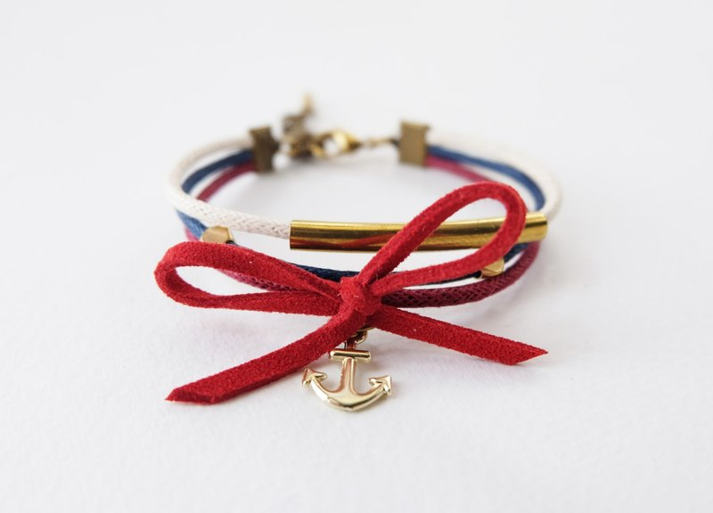 Red white blue triple layers cord bracelet with brass materials and nautical charm