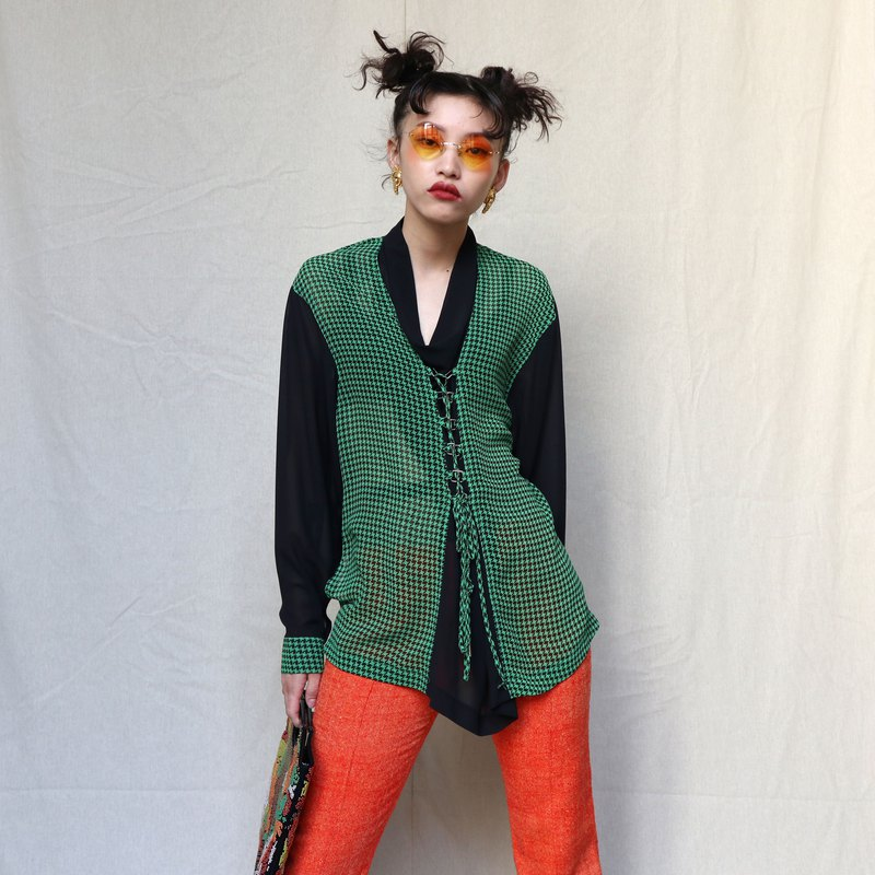 Pumpkin Vintage. Ancient Green Houndstooth Special Hoop Strap Chiffon Top