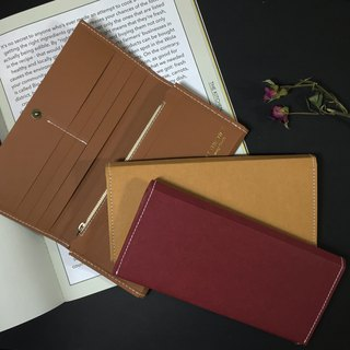 Washable kraft paper long wallet  red , Tan, Brown