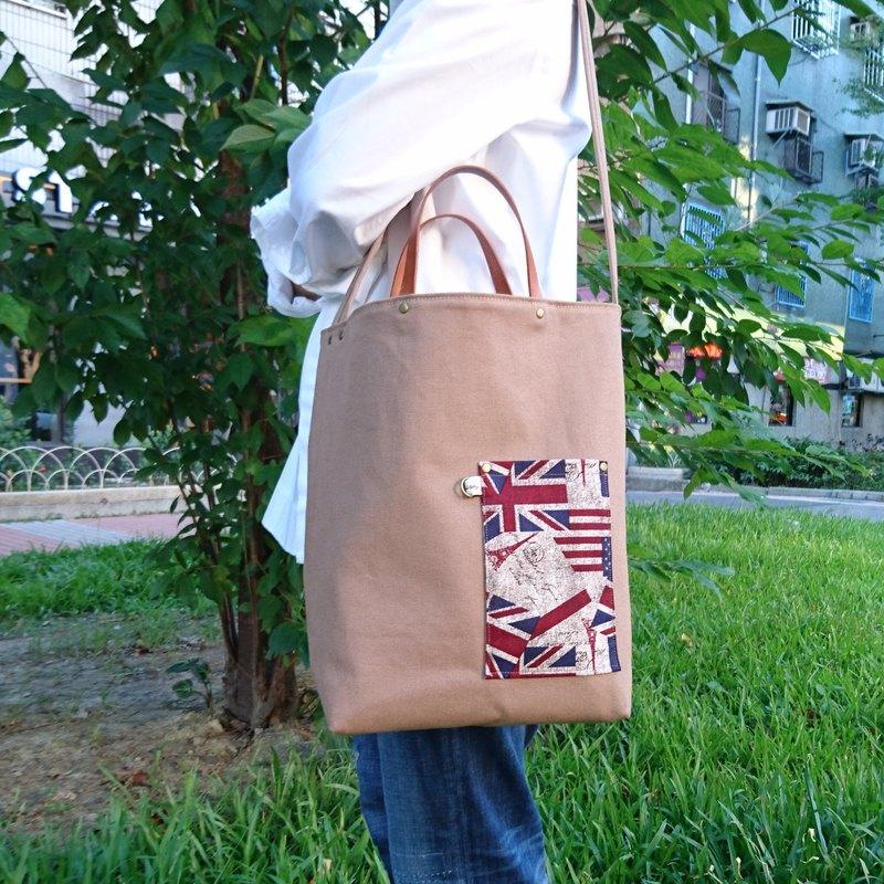 Cocoa British flag canvas double bread / Wenqing bag / handbag / shoulder bag