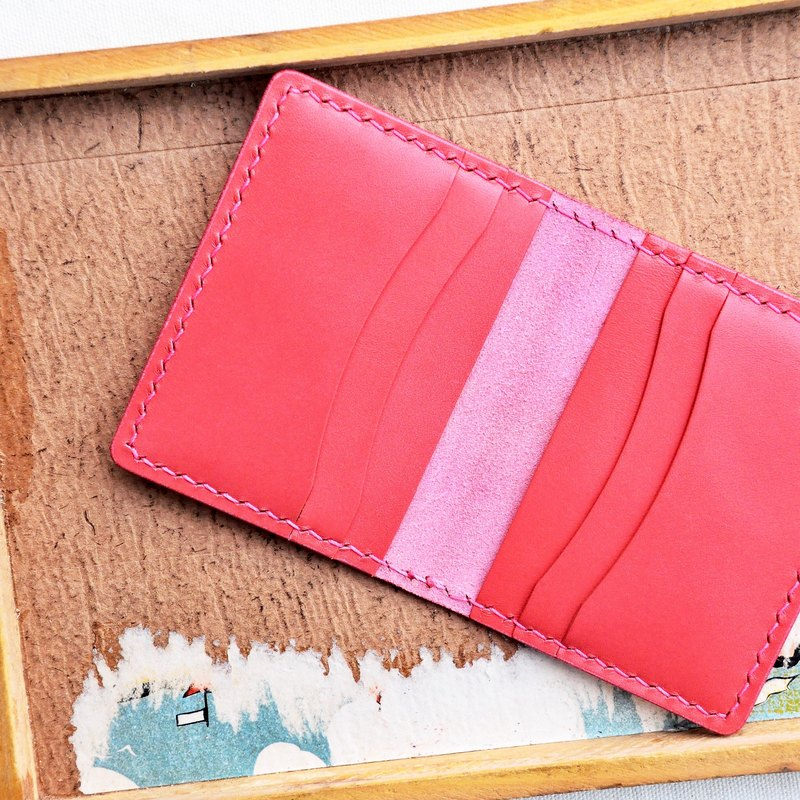Pesca] [6-Card Holder Card Holder - Pink | Pesca Good Zip Leather Bag Free Pressing Handmade Card Holder Card Holder Card Holder Card Holder Simple & Practical Italian Leather Vegetable Tanned Leather DIY Card Holder Card Holder