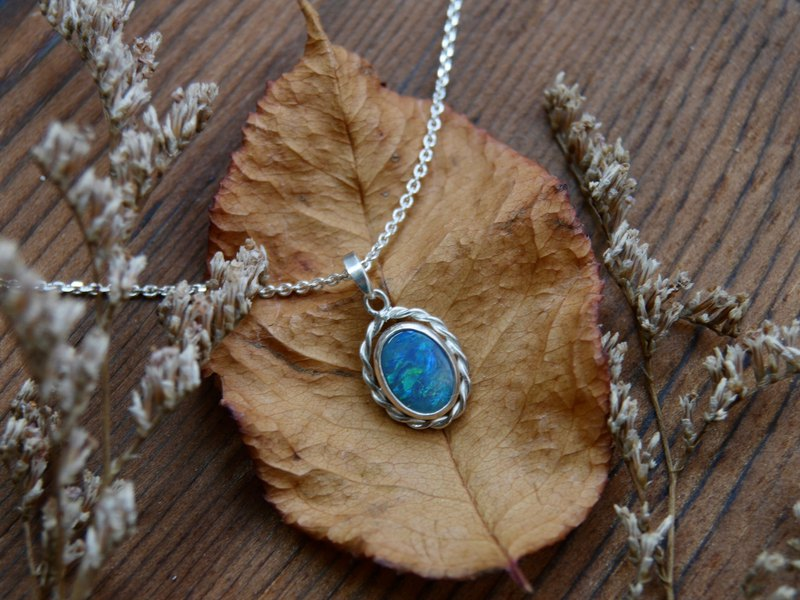Deep sea color - Australian black opal necklace black opal