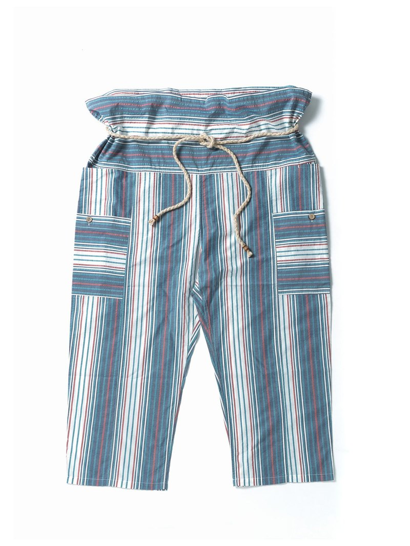 """FOLK"" FISHERMAN PANTS - NAVY STRIPE"
