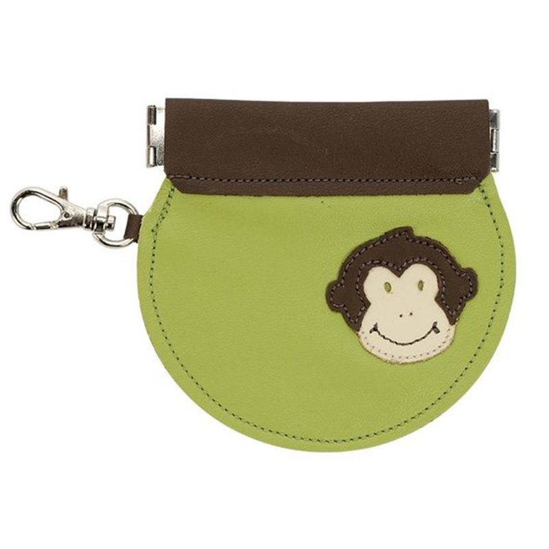 Handmade leather leather lip-type coin purse with key ring buckle monkey