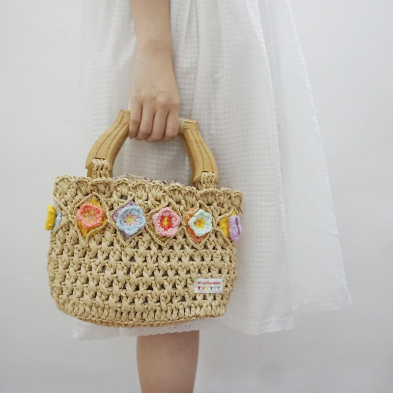 Independent original hook · weaving series of three - dimensional hook flowers Rafi grass line handbag