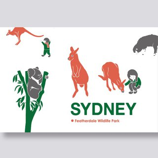 little ship Travel Illustration Postcards Sydney Series │ Feld Wildlife Park Featherdale Wildlife Park
