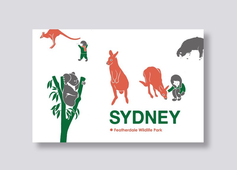 little ship - travel illustration postcard Sydney│Featherdale Wildlife Park