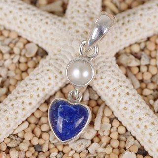 Heart's lapis lazuli and freshwater pearl pendant top