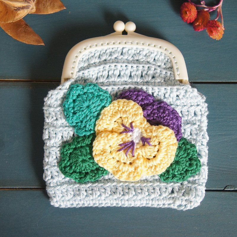 Hand-knitted flower series three-color mouthwash gold bag (coin purse small bag cosmetic bag)