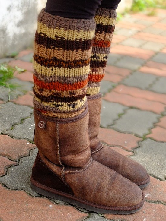 Wool Canadian Colorful Legwarmers Multi color_Brown