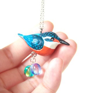 Kingfisher glass bead necklace three-dimensional clay necklace