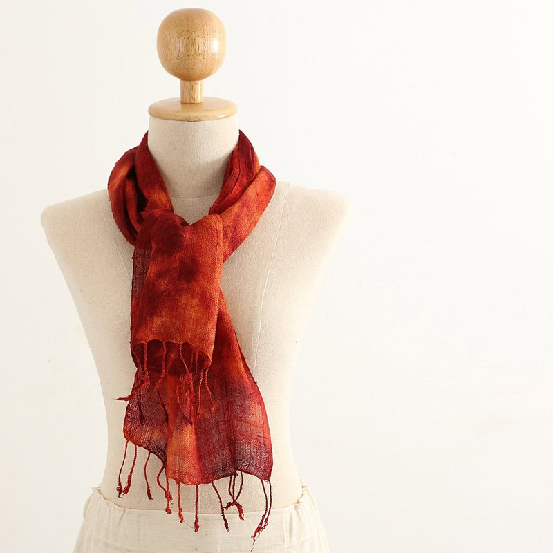 Silk Multiple Tie Dyed Scarf , Brown, Red