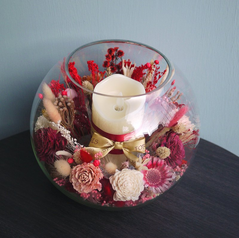 Eden's Praise - Glass Ball Table Flower with Electronic Candle Opening / Exhibition