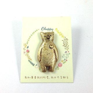 Ohappy Animal Series | Bear Bear Brass Brooch