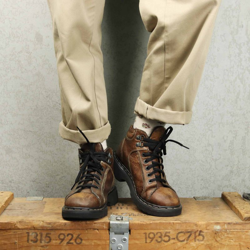 Tsubasa.Y Ancient House 005 light brown tube horse Martin boots, Dr.Martens boots shoes made in the UK