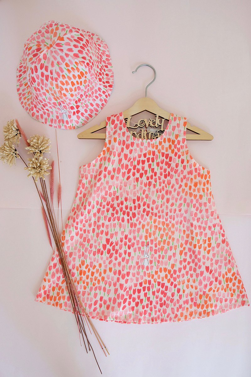 Pink Tulip and Bunny Sleeveless Dress