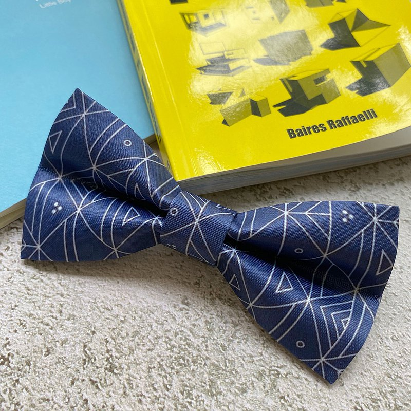 Style 0184  Blue Geometric Printed Bowtie - Bridal Groom Gift & Wedding Bowtie