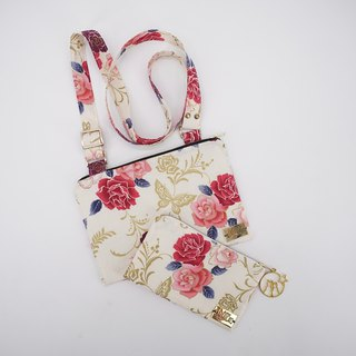 Christmas Gift Set: Pouch & Crossbody Bag in Flowers on White