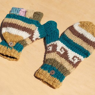 NG Goods Limited a knitted pure wool warm gloves / 2ways Gloves / Toe gloves / bristles gloves / knitted gloves - desert sky and Eastern European national totem