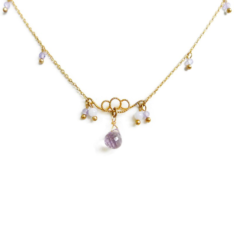 Ficelle | Handmade Brass Natural Stone Necklace | [Amethyst] Flowering Prelude - Purple Core