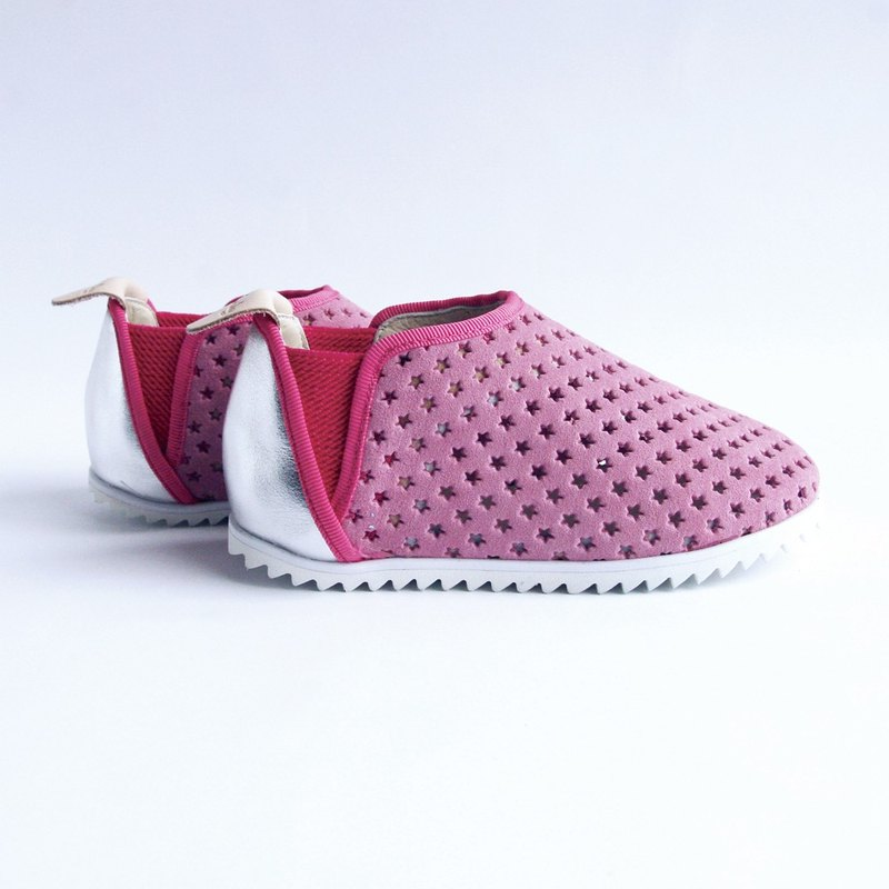 Beven Smiley. V series leather children's casual shoes-holes-soft powder (lazy shoes)