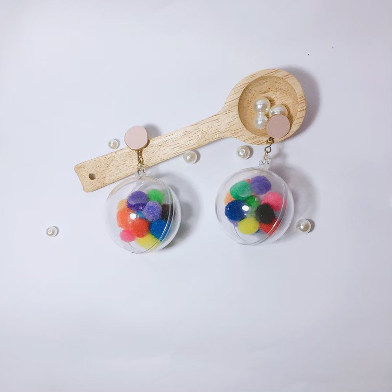 Transparent bubble ball earrings
