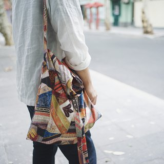Large-capacity patchwork printed side backpack cross-body bag