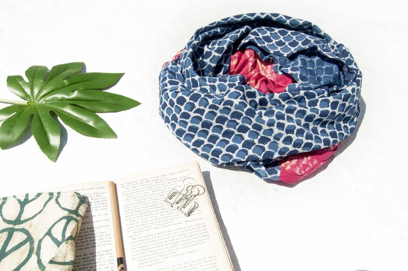Blue dyed silk scarf / batik embroidery silk scarf / plant dyed scarf / indigo gradient cotton scarf - red gradient