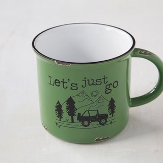 Imitation enamel camping mug - Let's Just Go | MUG306
