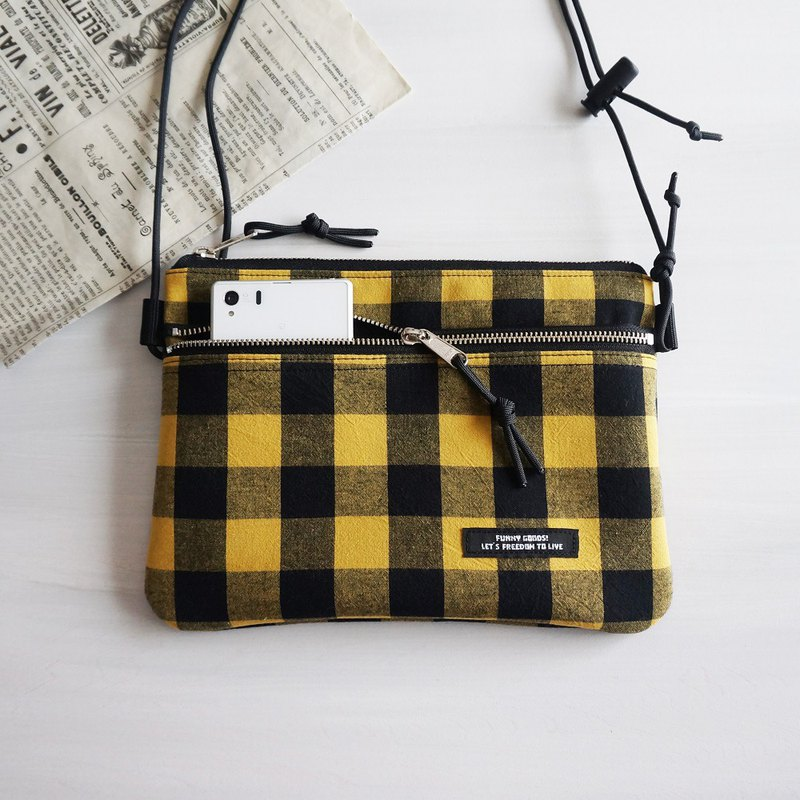 BIG Block Check Double Fastener Sakosh Bag Mini Shoulder Bag