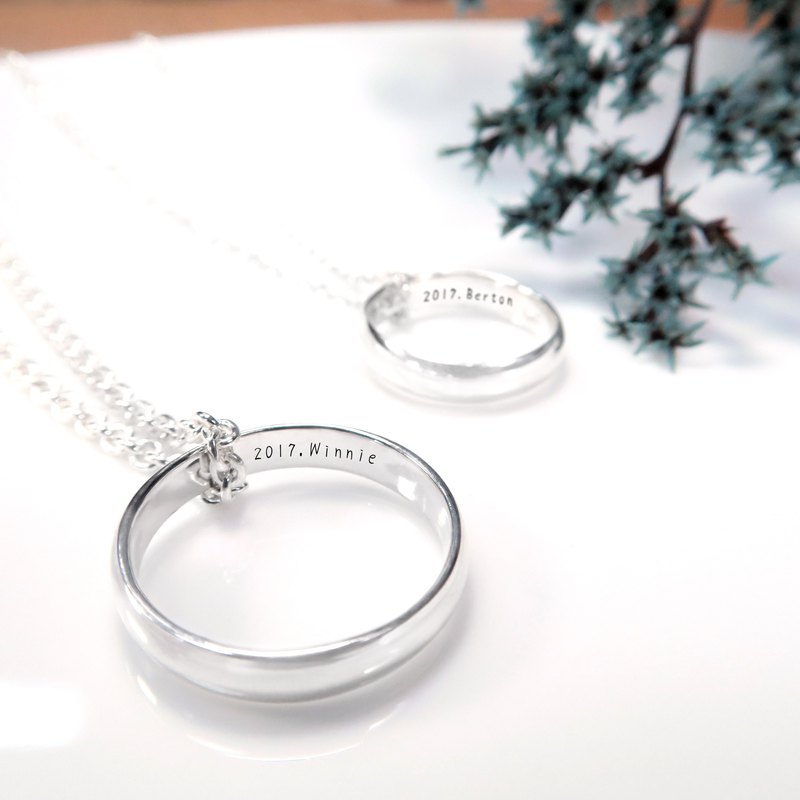 Custom Rings - Men's 4mm Curved Lettering Names Name Silver Rings Necklaces