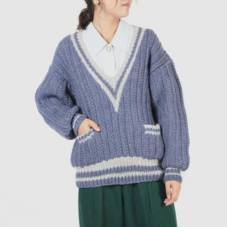 [Egg plant vintage] big V girl thick knit vintage sweater