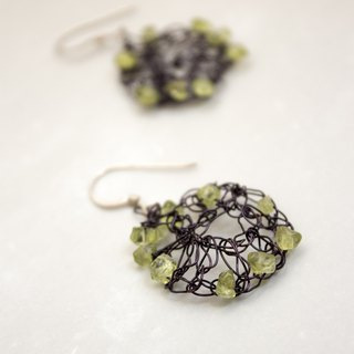 [Nanfeng Studio] F016 Metal Knit Flower Earrings