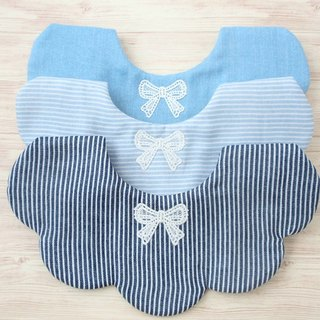 BABY BIB, Set of 3, Scalloped Bib, Reversible, Japanese Bib, Baby Gift, Blue